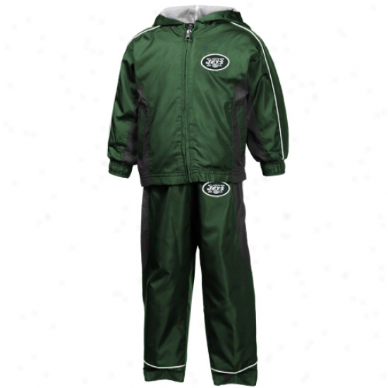 Reebok New York Jets Toddler Green Full Zip Hoody Wind Jacket & Panrs Set