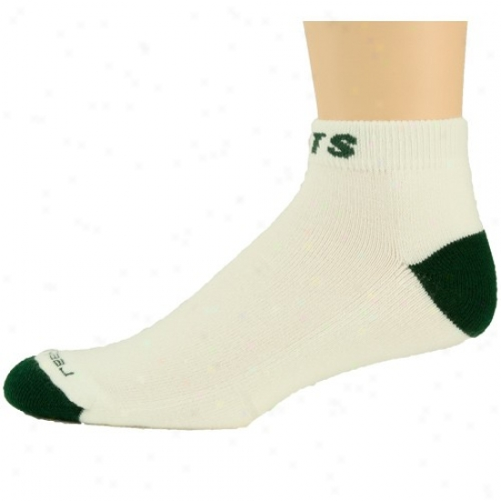 Reebok New York Jets White-green Low-cut Socks