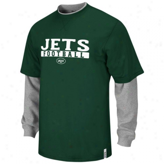 Reebok New York Jets Youth Green-ash Splitter Double Layer T-shirt