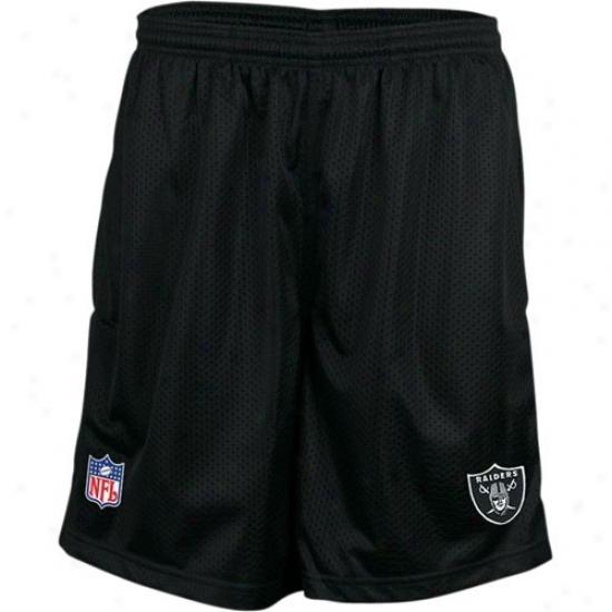 Re3bok Oakland Raiders Black Coaches Mesh Shorts