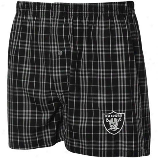 Reebok Oakland Raiders Black Plaid Genuine Boxer Shorts