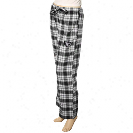 Reebok Oakland Raiders Ladies Black Plaid Flannel Pajjama Pants