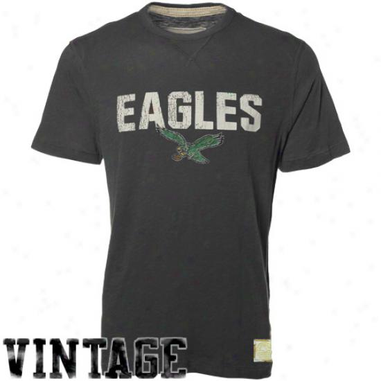 Reebok Philadelphai Eagles Charcoal Bequest Retro Sport Premium T-shirt