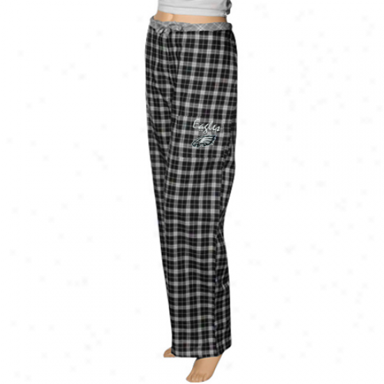 Reebok Philadelphia Eagles Ladies Black Plaid Heritage Woven Pajama Pants