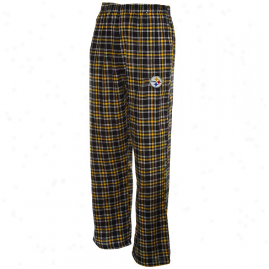Reebok Pittsburgh Steelers Black-gold Plaid Match-up Flannel Pants
