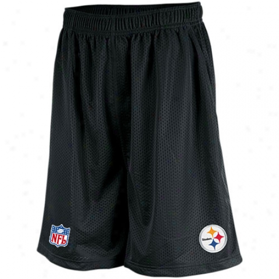 Reebok Pittsburgh Steelers Black Mesh Coaches Shorts