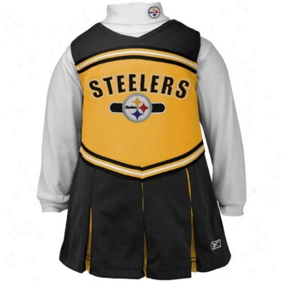 Reebok Pittsburgh Steelers Black Preschool 2-piece Cheefleader Dress