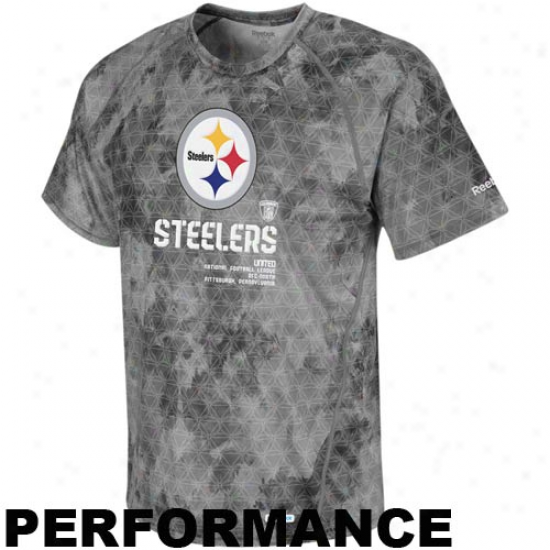 Reebok Pittsburgh Steelers Gray Sideline United Digital Print Speeewick Performance T-shirt