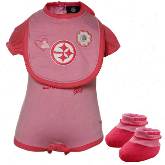 Reebok Pittsburgh Steelers Infant Girls Pink Three Piece Creeper Set