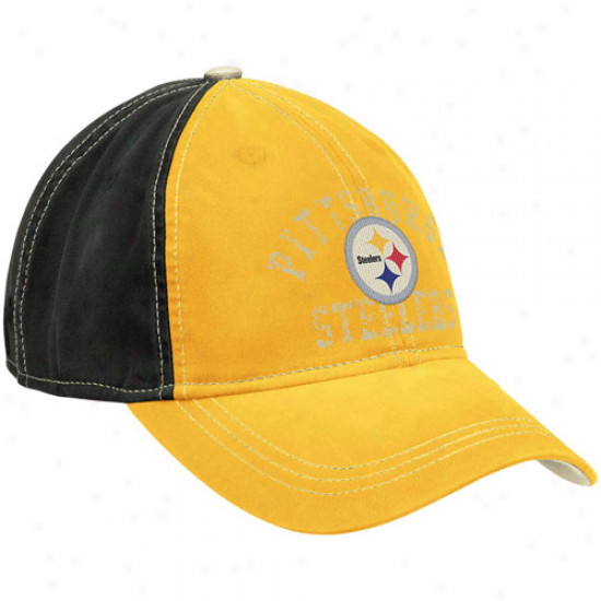 Reebok Pittsburgh Steelers Ladies Gold-black Slouch Adjjustable Hat