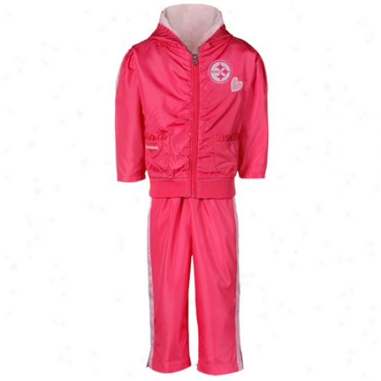 Reebok Pittsburgh Steelers Toddler Girls Two-tone Pink Ruffled Jacket & Pants Windsuit