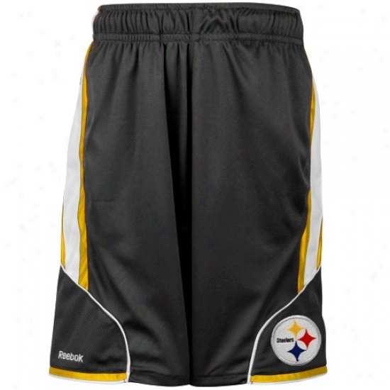 Reebok Pittsburgh Steelers Youth Bllack The Thirty-five Mesh Shorts