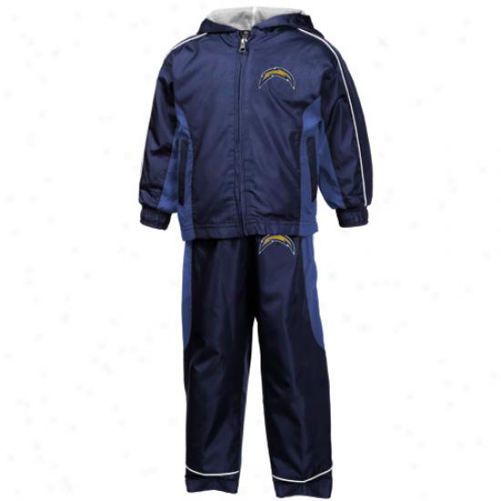 Reebok San Diego Chargers Toddler Navy Blu eFull Zip Hoody Coil Jacket & Pants Set