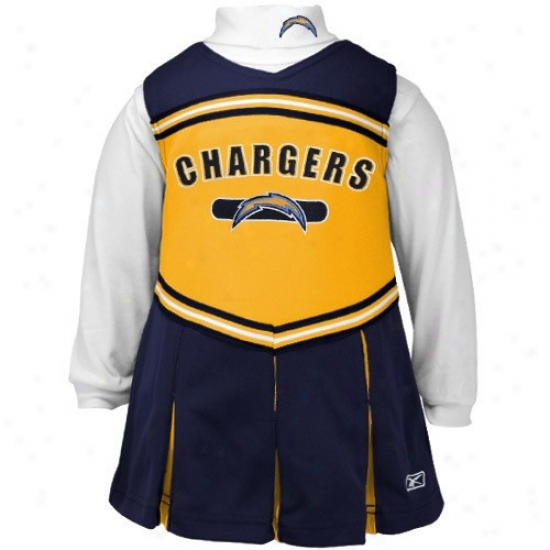 Reeebok San Diego Chargers Boy Navy Pedantic  2-piece Cheerleader Dress