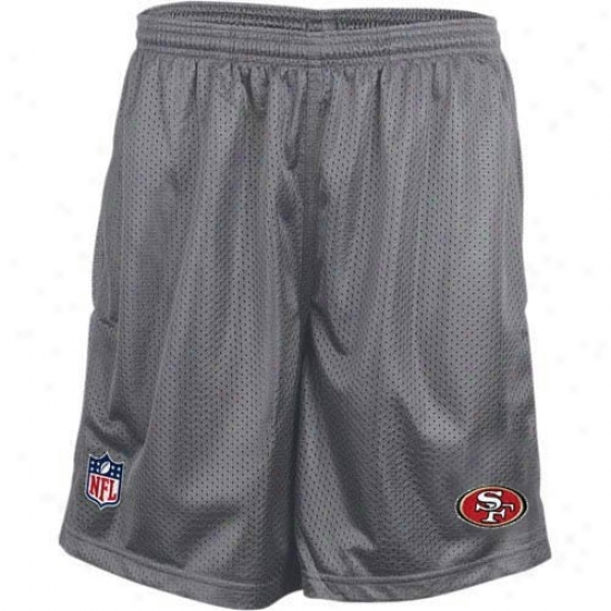 Reebok San Francisco 49ers Charcoal Mesh Coaches Shorts