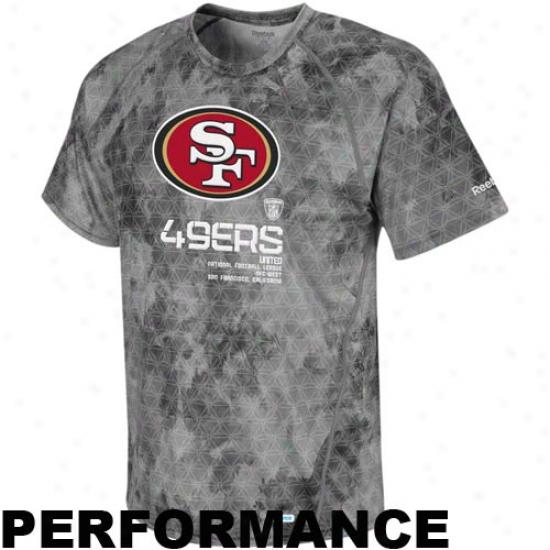 Reebok San Francisco 49ers Gray Sideline United Digital Print Speedwick Performance T-shirt