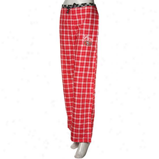 Reebok San Francisco 49ers Ladies Scarlet Plaid Heritage Flannel Pajama Pants