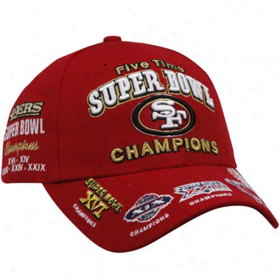 Reebok San Francisco 49ers Scarlet Super Bowl Commemorative Adjustable Hat