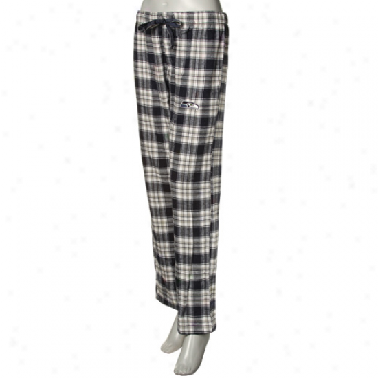 Reebok Seattle Seahawks Ladies Navy Blue Plaid Harmony Flann3l Pajama Pants