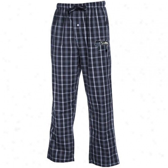 Reebok Seattle Seahawks Navy Blue Plaid Genuine Pajama Pants