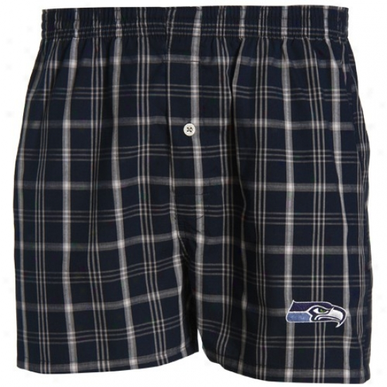 Reebok Seattle Seahawks Navy Blue Plaid Genuine Boxer Shorts