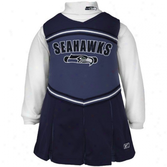 Reebok Seattle Seahawks Pacific Blue Girls 2-piece Cheerleader Dress