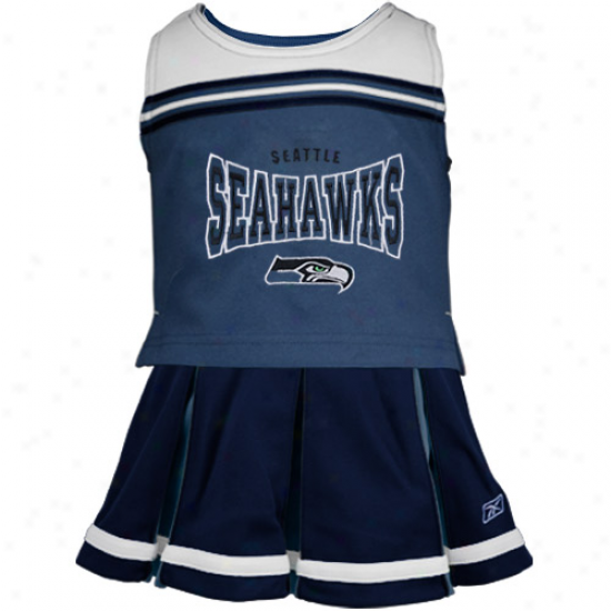 Reebok Seattle Seahawks Toddler Navy Blue 2-piece Cheerleader Set