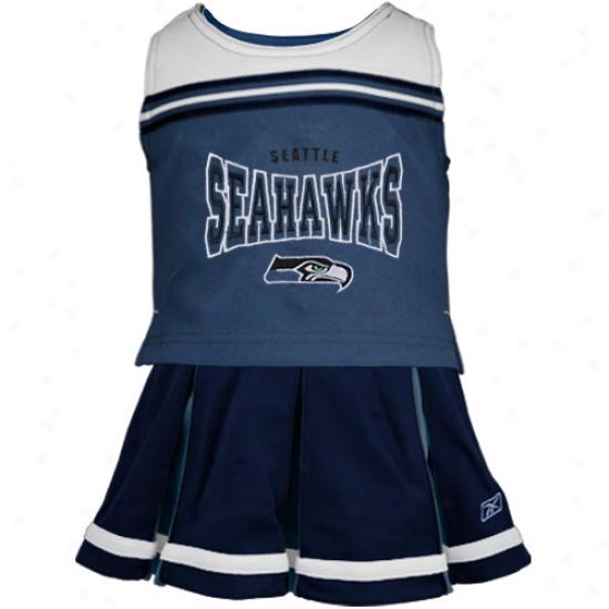 Reebok Seattle Seahawks Youth Navy Blie 2-piece Cheerleader Set