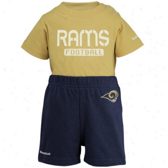 Reebok St. Louis Rams Infant Gold-navy Blue Crew Creeper & Shorts Set