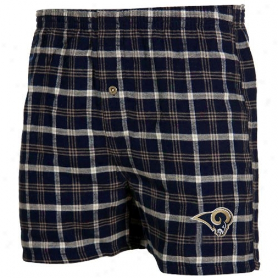 Reebok St. Louis Ramd Navy Blue Plaid Tailgate Boxer Shorts
