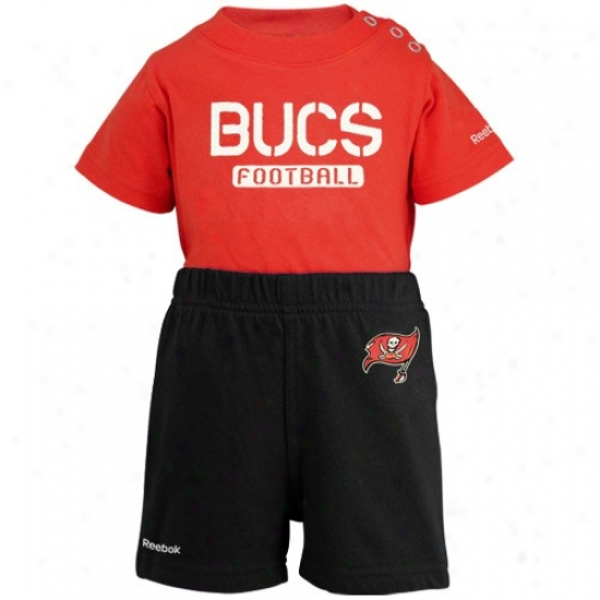 Reebok Tampa Bay-tree Buccaneers Infant Red-bblack Crew Creeper & Shorts Set