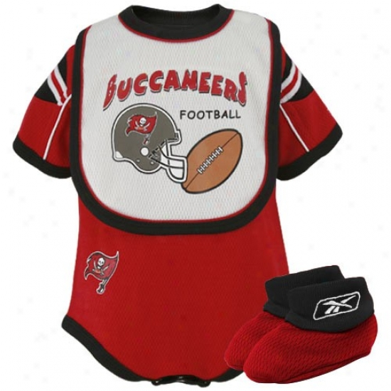 Reebok Tampa Bay Buccaneers Infant Red Mesh Crewper, Bib & Booties Set