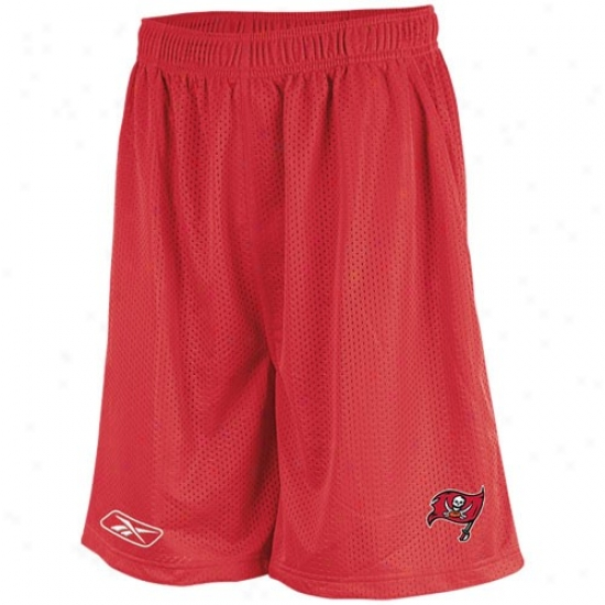 Reebok Tampa Check Buccaneers Red Mesh Coaches Shorts