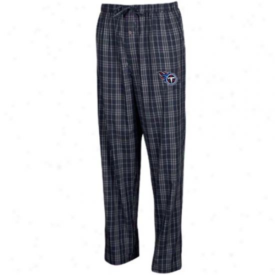 Reeok Tsnnessee Titans Ladies Navy Blue Event Plaid Pajama Pants