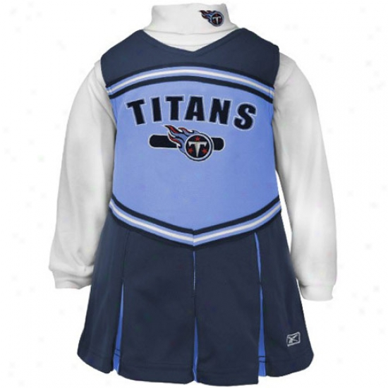 Reebok Twnnessee Titans Navy Blue Infant 2-piece Cheerleader Dress