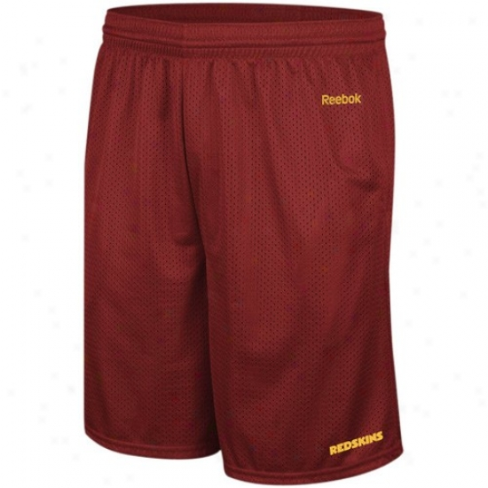 Reebok Washington Redskins Burgundy Johnson Mesh Shorts