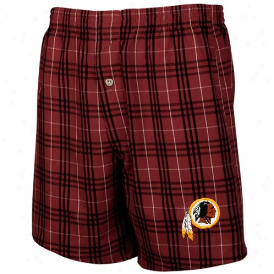 Reebok Washington Redskins Burgundy Plaid Adventure Boxer Shorts