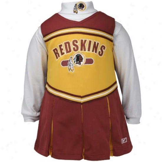 Reebok Washington Redskins Gold-burgundy Infant 2-piece Cheerleader Dress