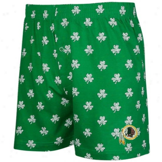 Reebok Washington Redskins Kelly Green St. Patrick's Day Shamrock Boxer Shorts