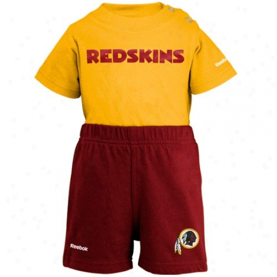 Reebok Washington Redskins Newborn Gold-burgundy Crew Creeper & Shorts Set