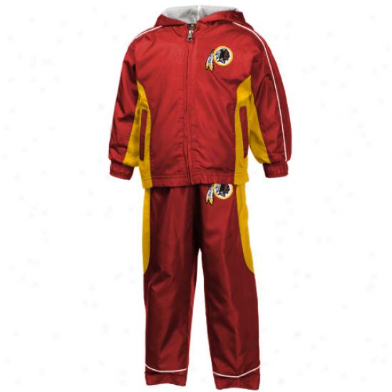 Reebok Washington Redskins Toddler Burgundy Full Zip Hoody Coil Jacket & Pants Set