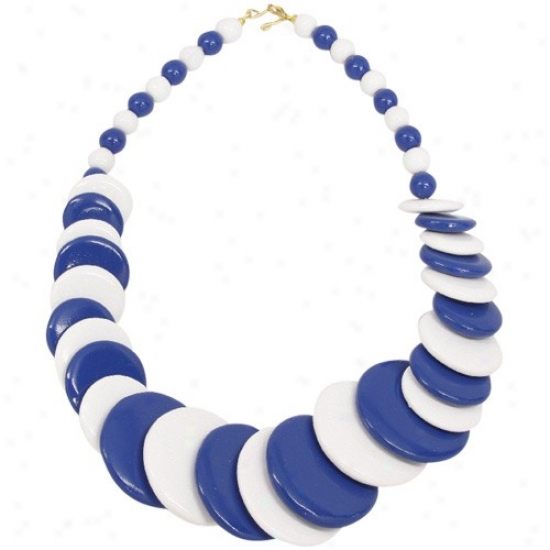 Royal Blue-white Escalating Wooden Bead Necklace
