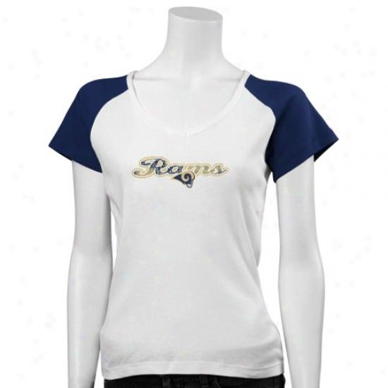 Saint Louis Ram Tshirt : Saint Louis Ram LadiesW hite Scripted Logo Raglan Tshirt