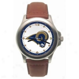 Saint Louis Drive down Wrist Watch : Saint Louis Ram Rookie Wrist Watch W/leather Band