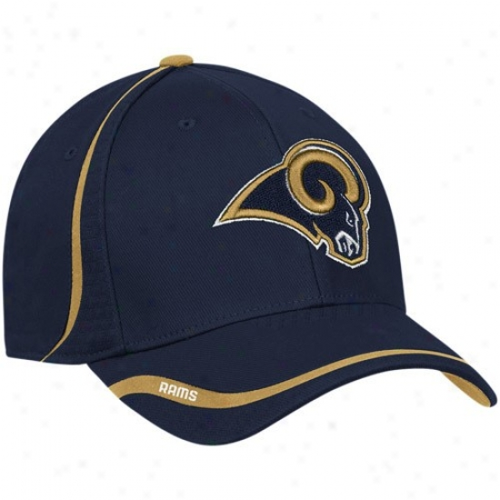 Saint Louis aRms Hats : Reebok Szint Louis Rams Navy Azure Coached Flex Hats