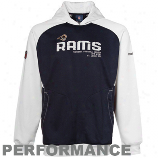 Saint Louis Rams Hoodys : Reebok Saint Louis Rams Navy Blue-white Sideline Performance Pullover Hoodys