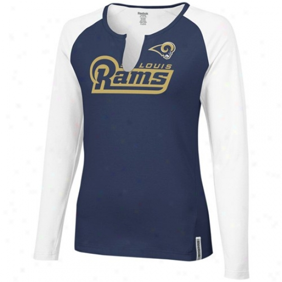 Saint Louis Rams Shirts : Reebok Saint Louis Rams Ladies Navy Blue-white High Pitch Long Sleeve Premium Shirts