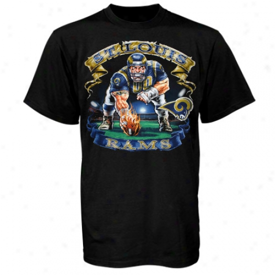 Saint Louis Rams T Shirt : Sainf Louis Rams Black Bannrr T Shirt