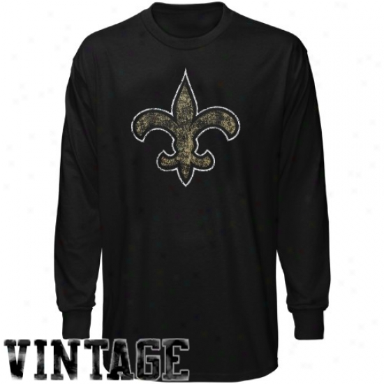 Saints Apparel: Reebok Saihts Youtth Blacm Faded Logo Long Sleeve Vintage T-shirt