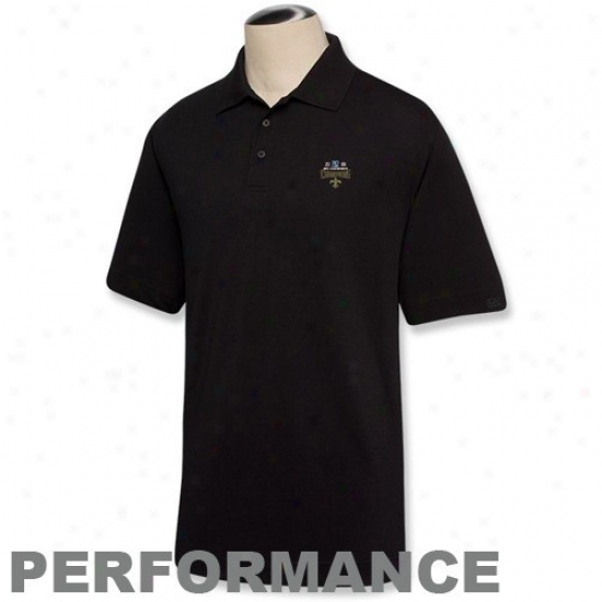 Saints Clothes: Cutter & Buxk Saints Black 2009 Nfc Champions Drytec Championship Performance Polo